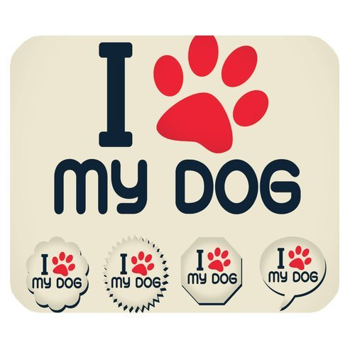 MKHERT I Love My Dog Rectangle Mousepad Mat For Mouse Mice Size 9.84x7.87 inches