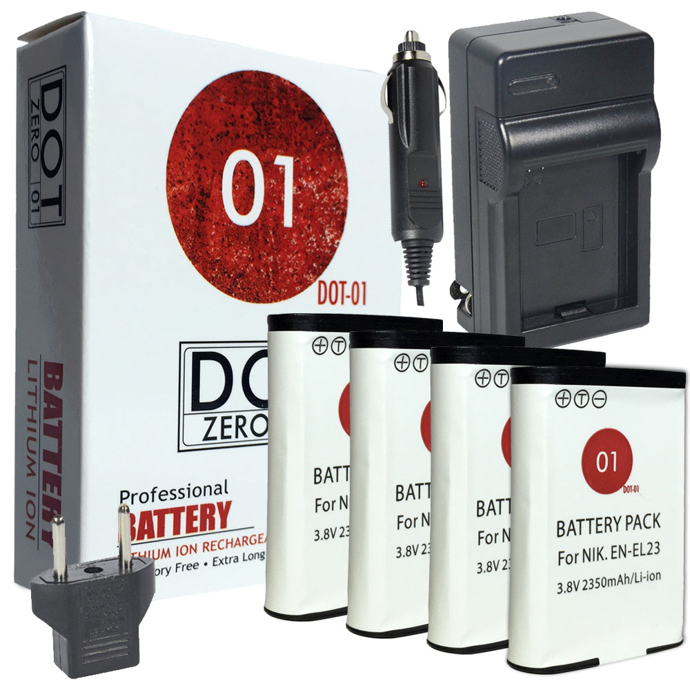 4x DOT-01 Brand 2350 mAh Replacement Nikon EN-EL23 Batteries and Charger for Nikon S810c Digital Camera and Nikon ENEL23