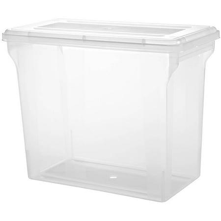 IRIS Scrapbook File Storage Box for 12 x 12 Inch Scrapbook Paper, Clear Set of 4