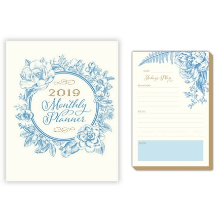 Rosanne Beck Collections 2019 Monthly Planner, Calendar Daily Notepad Combo Set (Vintage Blue Floral Monthly Planner Blue Floral Today