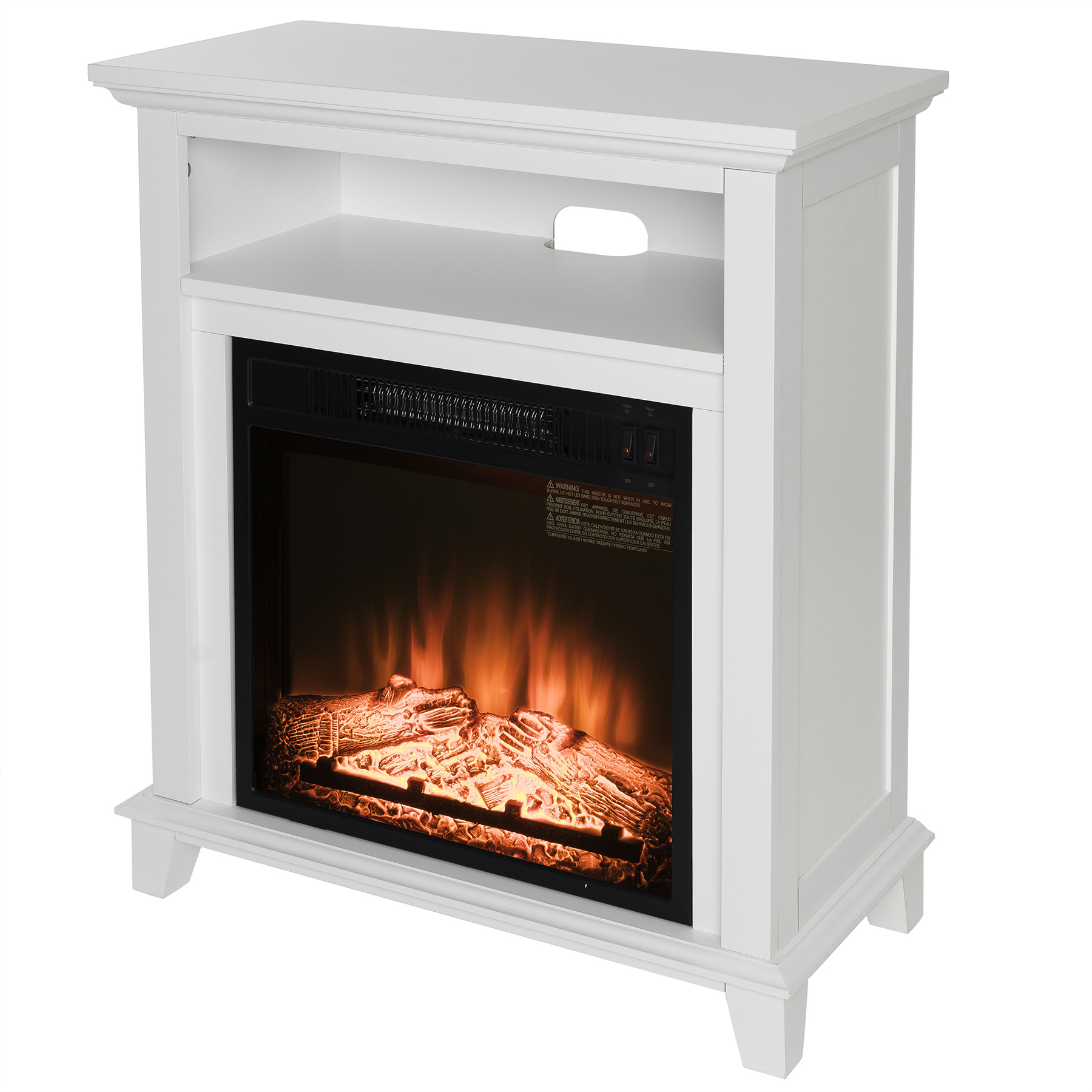"AKDY FP0092 27"" Electric Fireplace Freestanding White Wooden Mantel Shelf Firebox Heater 3D Flame w/ Logs"