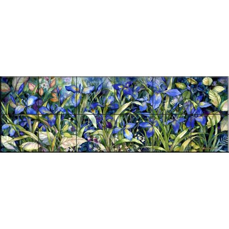 Ceramic Tile Mural - Blue Iris - by Kathleen Parr McKenna - Kitchen backsplash / Bathroom -