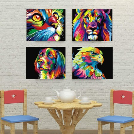 4 Pack 5D DIY Oil Canvas Crystal Diamond Jewelry Home Wall Decor Art Painting Picture by Number Kit +Accessories, Full Drill Animal Embroidery Cross Stitch Rhinestone (Diamond Art Jewelry)