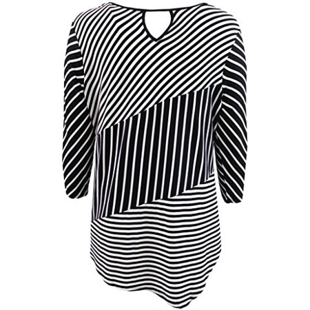 Women's Plus-Size Thick Thin Asymmetrical Stripes Keyhole Fashion Blouse Tee Shirt Knit Top Black 1X -