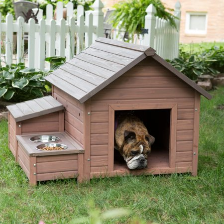 Boomer & George A-Frame Dog House with Food Bowl Tray and Storage Cubby, Large, 32