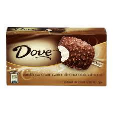 Dove Milk Chocolate with Almonds and Vanilla Ice Cream Bar, 2.89-Ounce (12