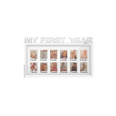My First Year Collage Baby Picture Frame- Memory Keepsake for Babies with 12 Month Display for One 2x3 Wallet Photo Monthly by Lavish Home (White)