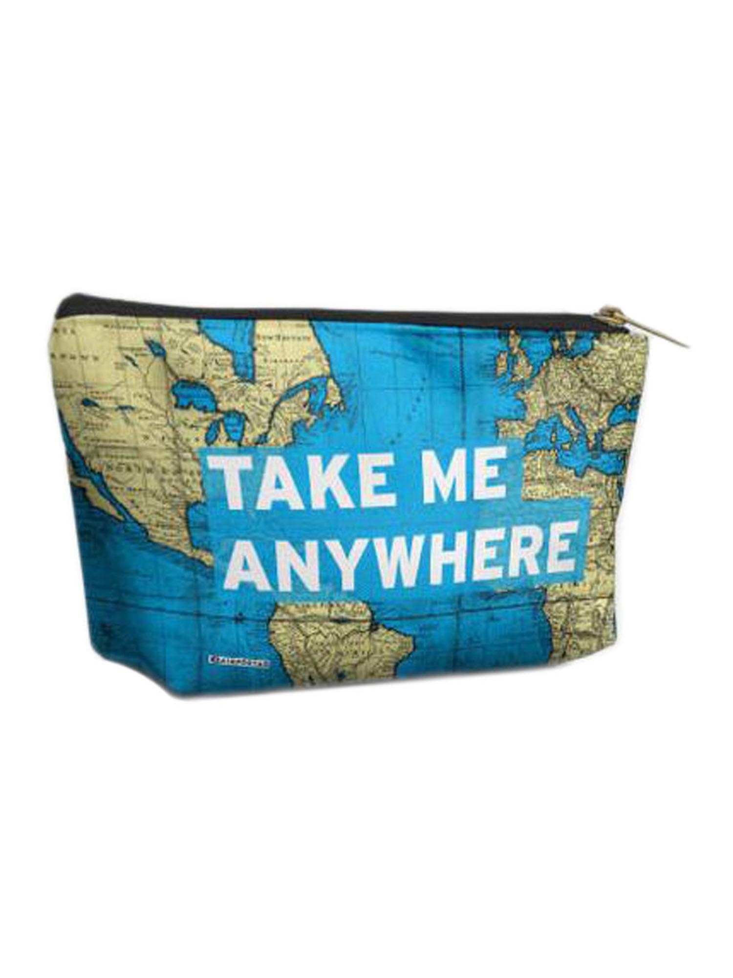 Airportag Take Me Anywhere Travel World Map Quote Cosmetic Makeup Shave Bag