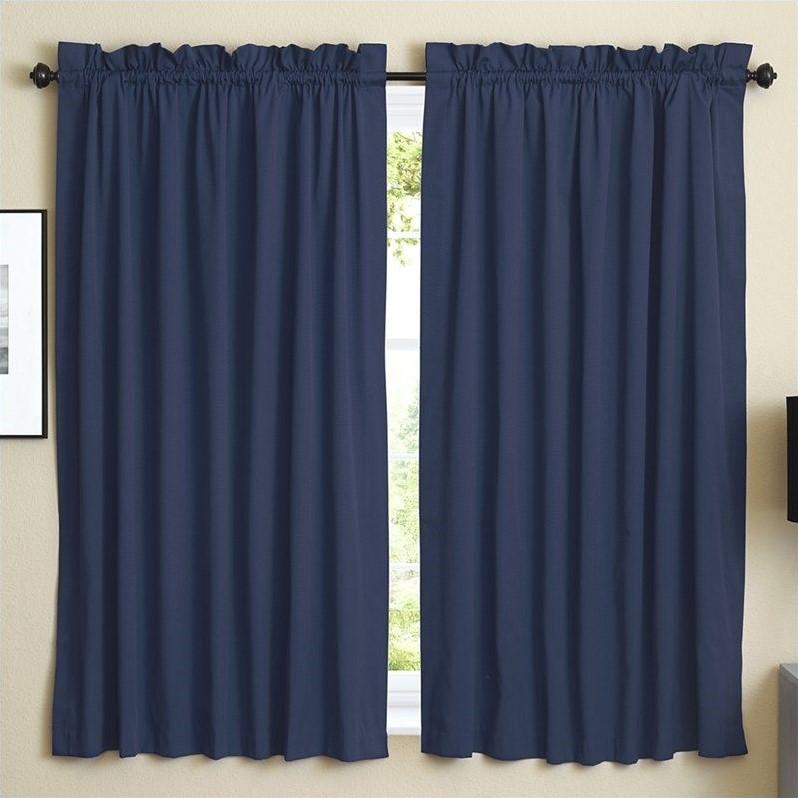 Blazing Needles Twill Curtain Panels In Navy Blue Set Of 2