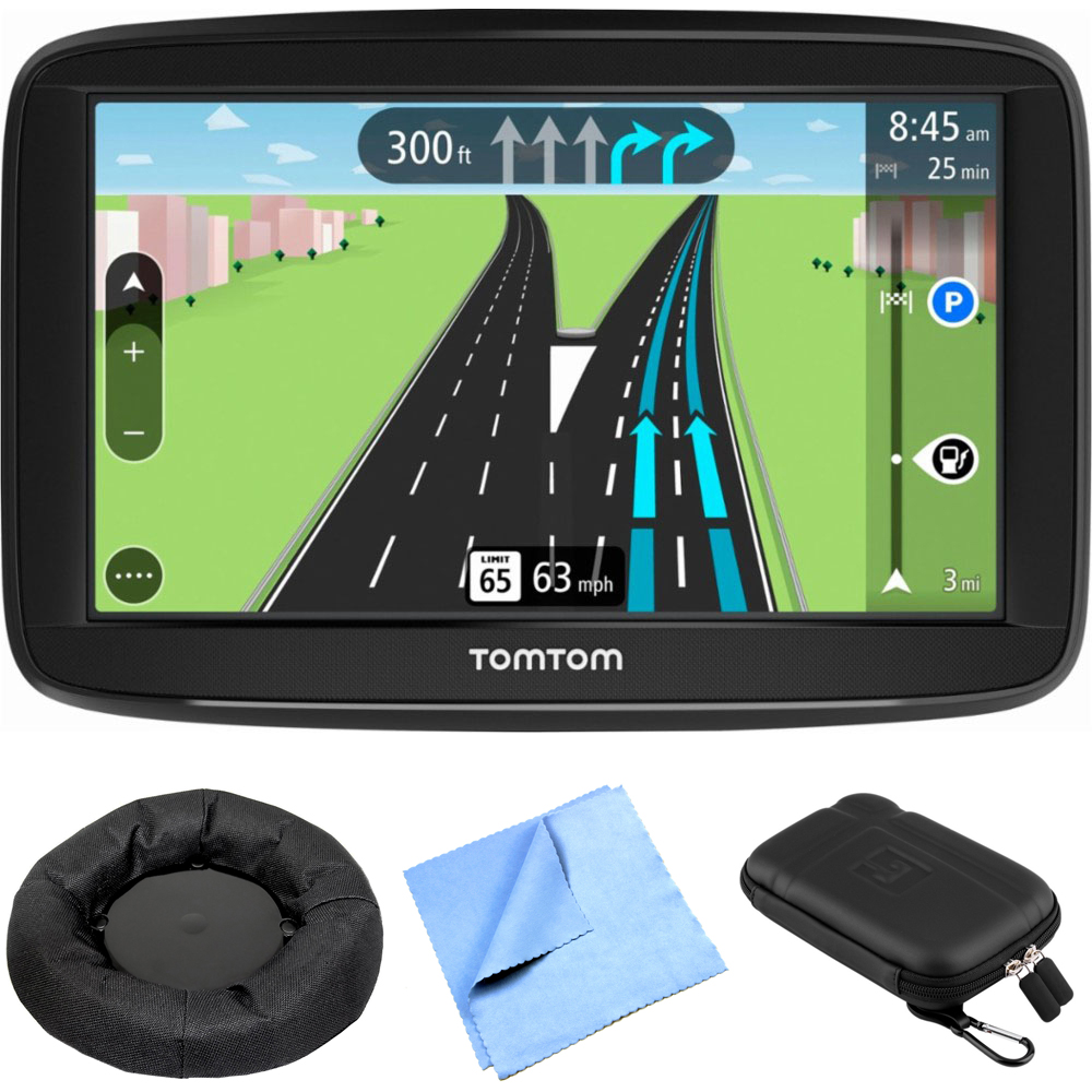 "TomTom Via 1525M Automobile Portable 5"" GPS Navigator With Lifetime Maps (1AA5.019.00) + Universal Weighted GPS Navigation Dash-Mount, Microfiber Cleaning Cloth & Hard EVA Case for Tablets and GPS 5"