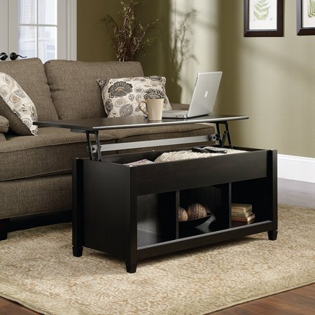 Zimtown Lift Up Top Coffee Table with Hidden Compartment End Rectangle Table Storage Space Living Room Furniture (Black)