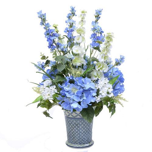 Floral Home Decor Delphinium and Hydrangea Floral Arrangment