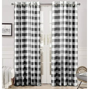 DriftAway Buffalo Checker Pattern Lined Blackout Grommet Window Curtains Printed Plaid 2 Layer Set of 2 Panels 52 Inch by 84 Inch Black
