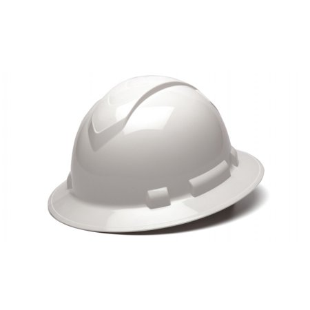 Ridgeline White Full Brim Hard Hat, Four Point Adjustable Ratchet - White Construction Helmet