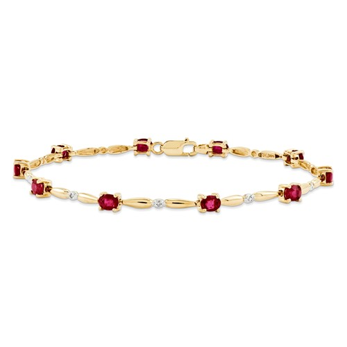 14k Yellow Gold Diamond and African Ruby Oval Bracelet. Gem Wt- 2.2ct by Jewelrypot