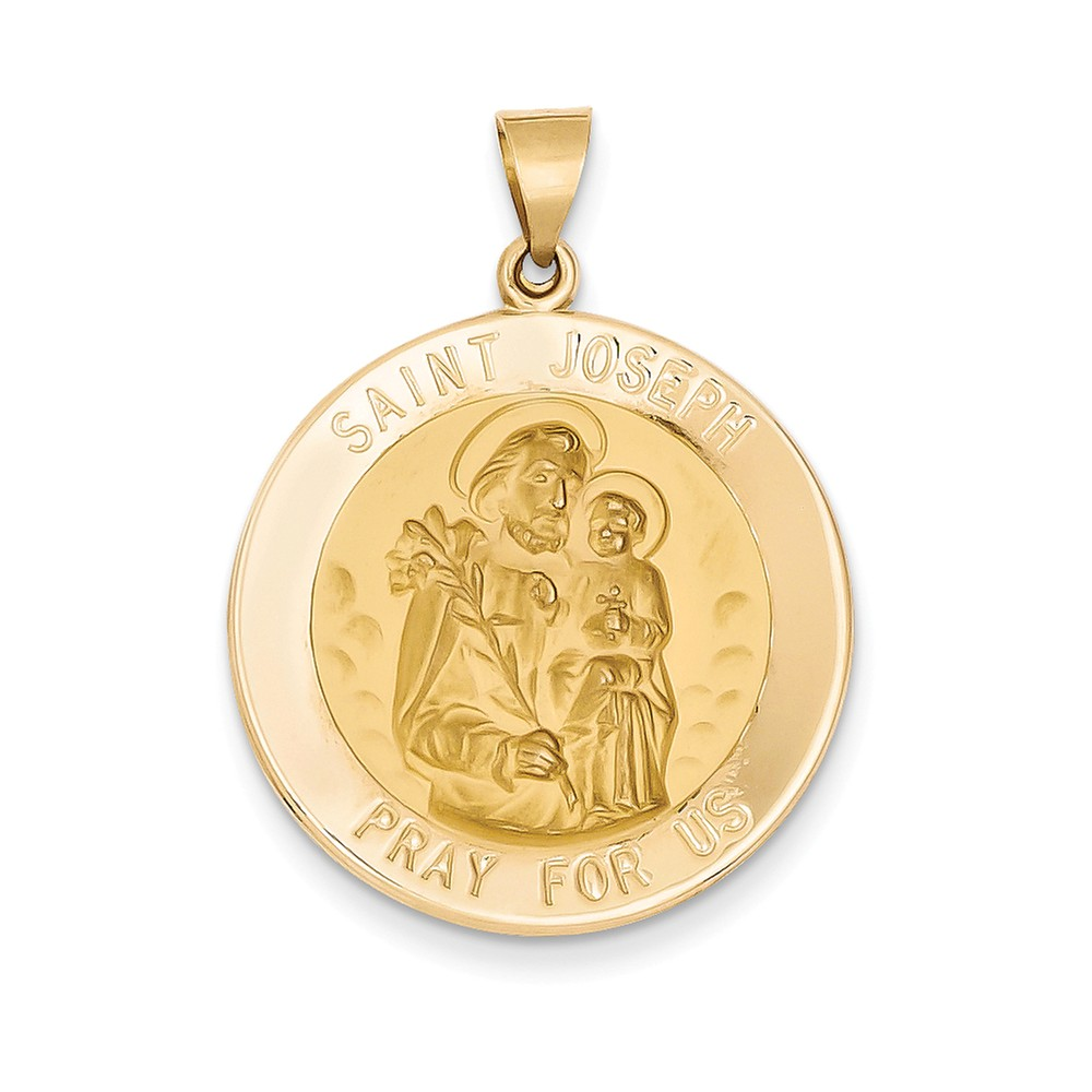 14k Yellow Gold Polished and Satin St. Joseph Medal Pendant