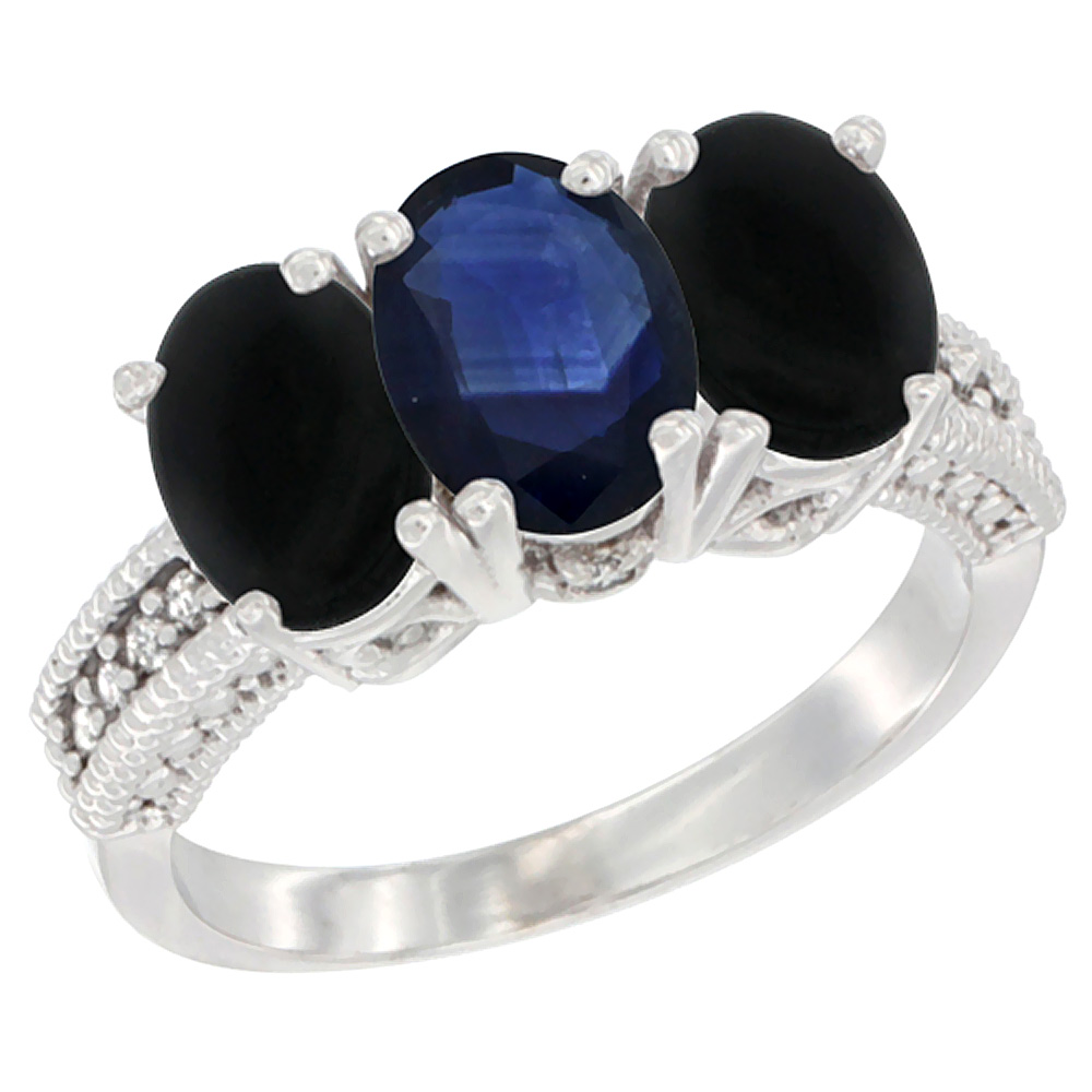 10K White Gold Diamond Natural Blue Sapphire & Black Onyx Ring 3-Stone 7x5 mm Oval, sizes 5 10 by WorldJewels