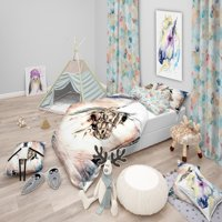 DESIGN ART Designart 'Freehand Horse' Farmhouse Animal Bedding Set - Duvet Cover & Shams