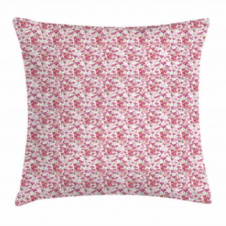 Cherry Blossom Throw Pillow Cushion Cover, Bubbly Petals of Kawazu Type Japanese Sakura Tree Illustration, Decorative Square Accent Pillow Case, 16 X 16 Inches, Pink Green and Orange, by - Sakura Petals