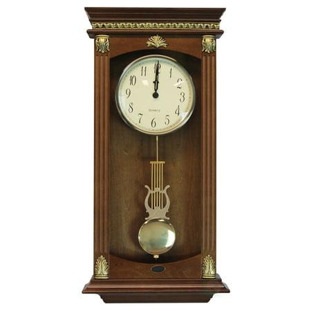 Traditional Wood Wall Mounted Pendulum Clock Walnut Finish