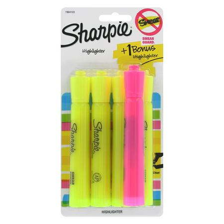 Sharpie Highlighters, Chisel Tip, Fluorescent Yellow & Pink, 4 + 1 Bonus (Mini Fluorescent Highlighter)