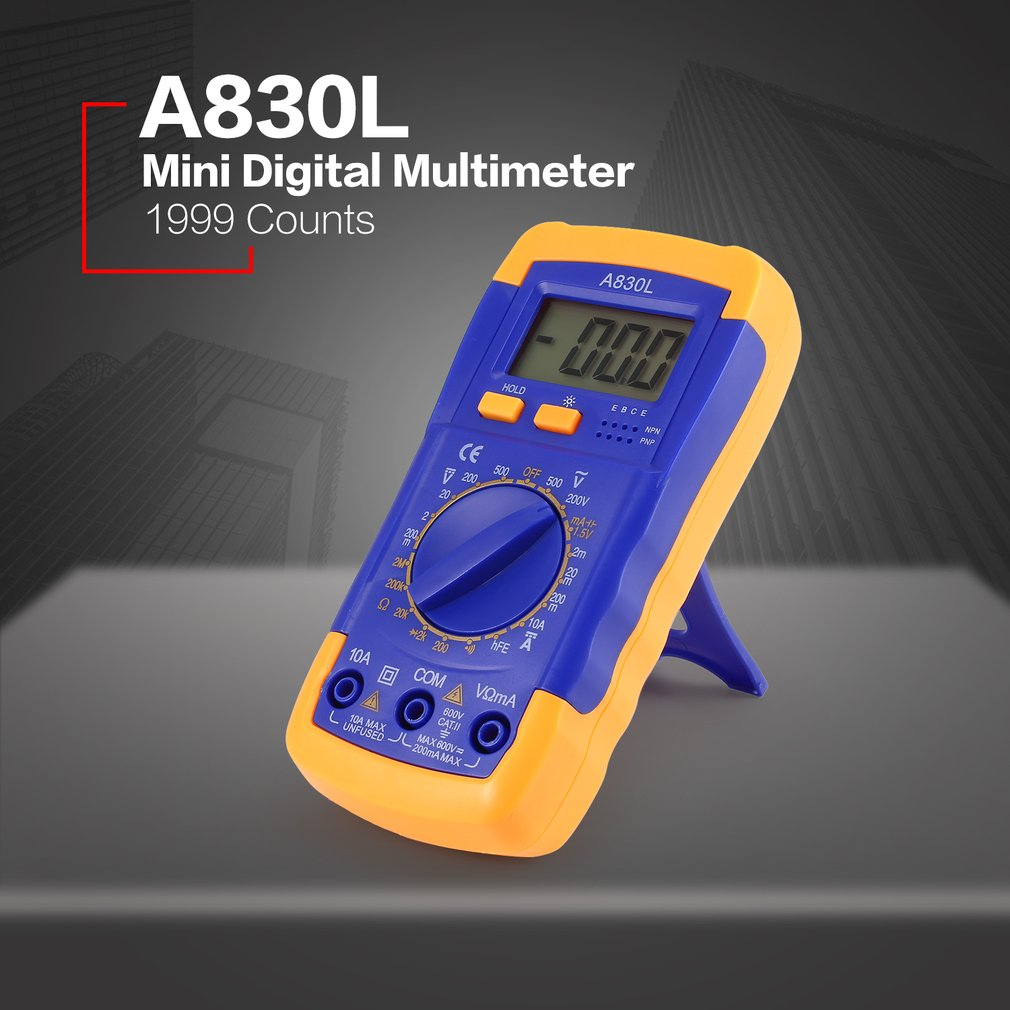 A830l Mini Pocket Digital Multimeter 1999 Counts Ac Dc Volt Amp Ohm Lcd Voltmeter Ammeter Circuit Checker Diode Hfe Continuity Tester