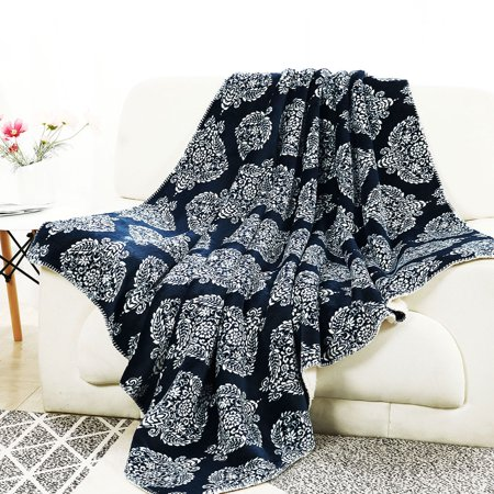 Printed Fleece Throw Blanket Reversible Blankets for Couch Sofa Jacobean Floral