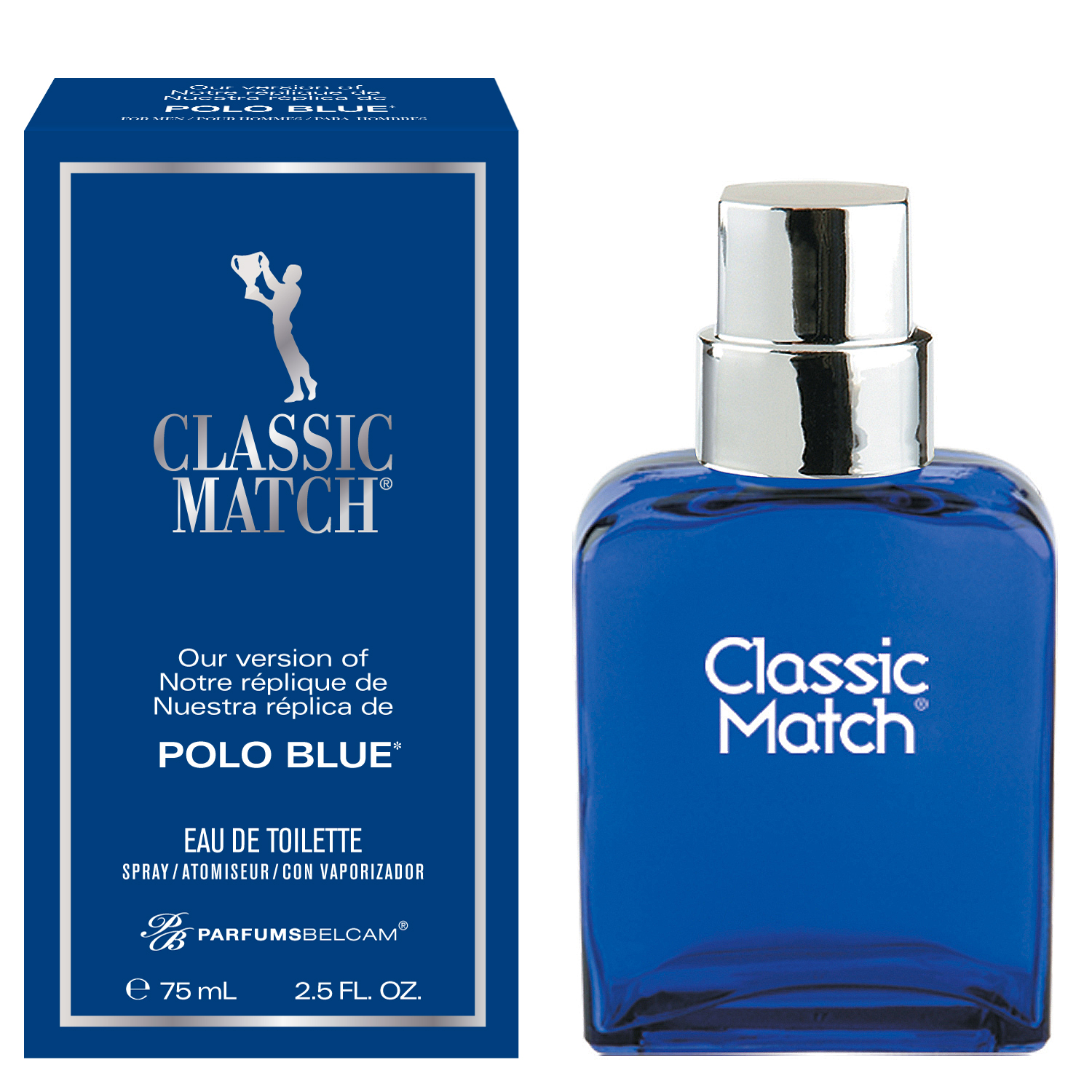 Classic Match, version of Polo Blue*, by PB ParfumsBelcam, Eau de Toilette Spray for Men, 2.5 oz
