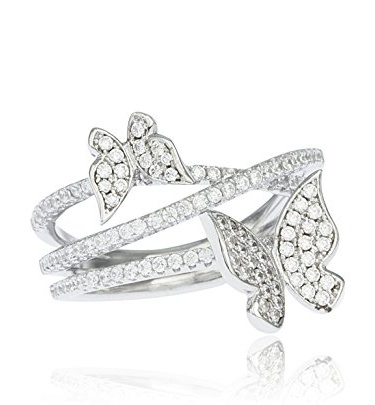 Real 925 Sterling Silver Double Butterfly Ring with Cubic Zirconia Stones (7)