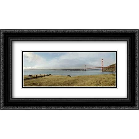 104 Matt - Golden Gate Bridge Pano - 104 2x Matted 24x14 Black Ornate Framed Art Print by Blaustein, Alan