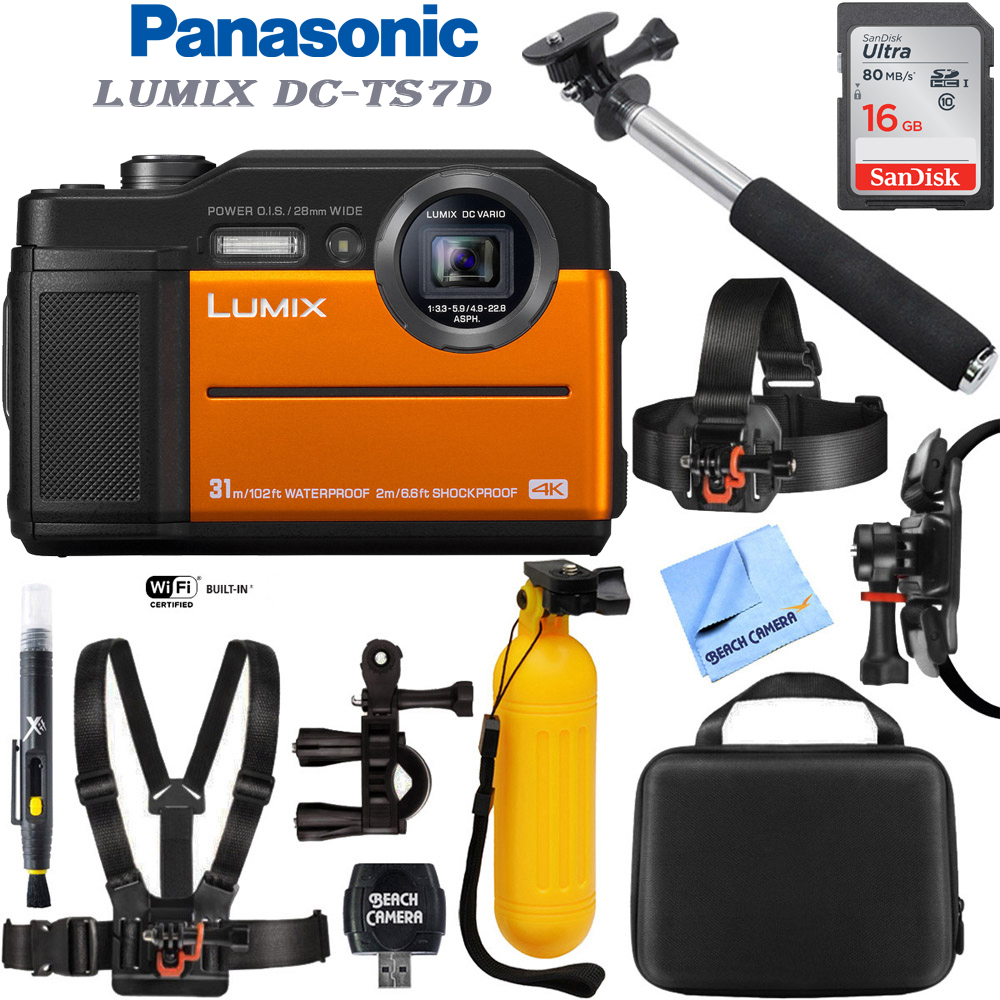 Panasonic Lumix DC-TS7D Waterproof Tough Digital Camera (Orange) with 16GB Memory Card, Cleaning Kit, BLTCHM1 Clip Head Mount Kit, Yellow Floating Bobber Handle & More