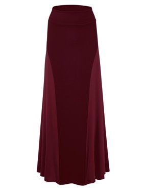 MBJ WB1371 Womens Maxi Skirt with Side Panel - Made in USA S WINE
