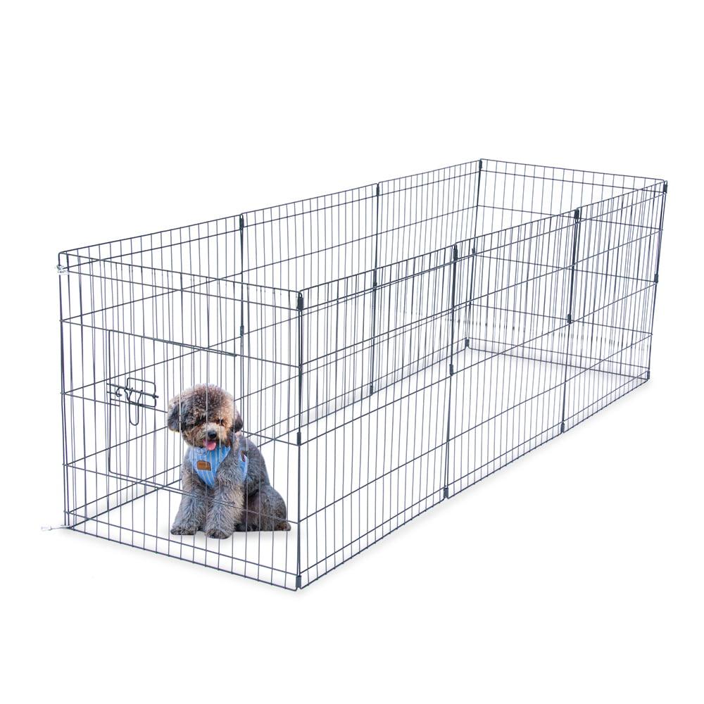 "42/"" Tall Dog Playpen 8 Panel Exercise Fence Cage Kennel w// Door Outdoor Indoor"