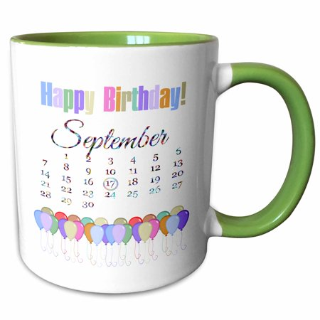 3dRose Birthday on September 17th, Colorful Happy Birthday and Balloons - Two Tone Green Mug, 11-ounce - Happy Birthday Green