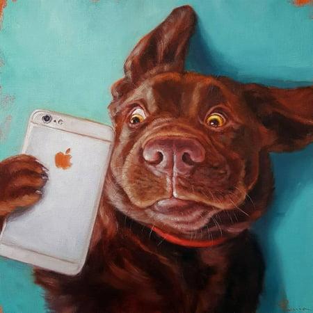 Humorous Golf Art - Dog Selfie Whimsical Chocolate Lab Humor Animal Art Print Wall Art By Lucia Heffernan