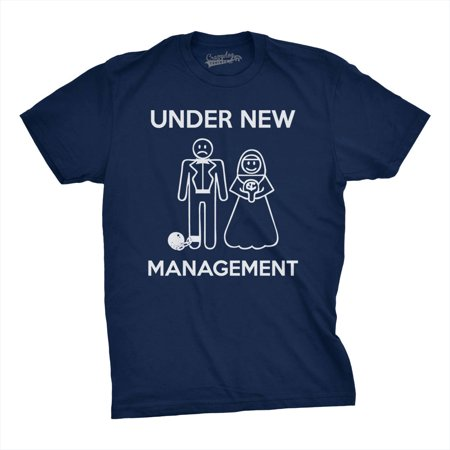 Crazy Dog T-shirts Mens Under New Management T-Shirt Funny Married Couple Marriage Tee - Navy