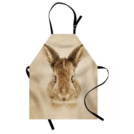 Geometric Apron Rabbit Portrait with Digital Geometrical Dots Points Vintage Color Bunny Face, Unisex Kitchen Bib Apron with Adjustable Neck for Cooking Baking Gardening, Pale Brown, by