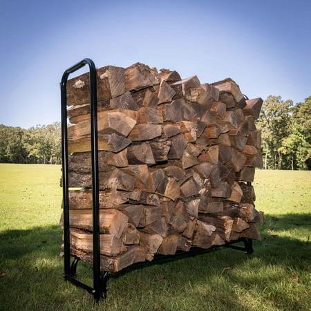 Titan Outdoors 4 ft Firewood Wood Log Rack Lumber Storage Holder Backyard