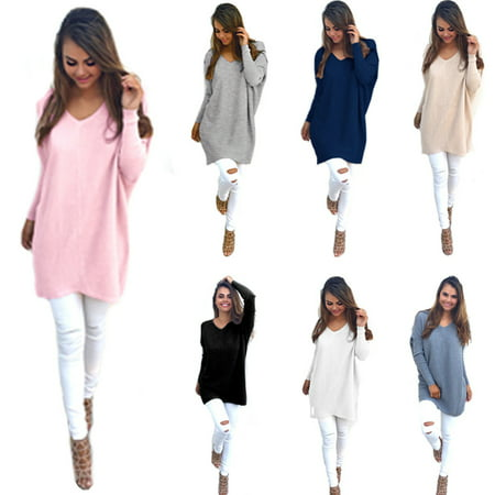 Womens Casual Long Sleeve Knitted V Neck Pullover Loose Sweater