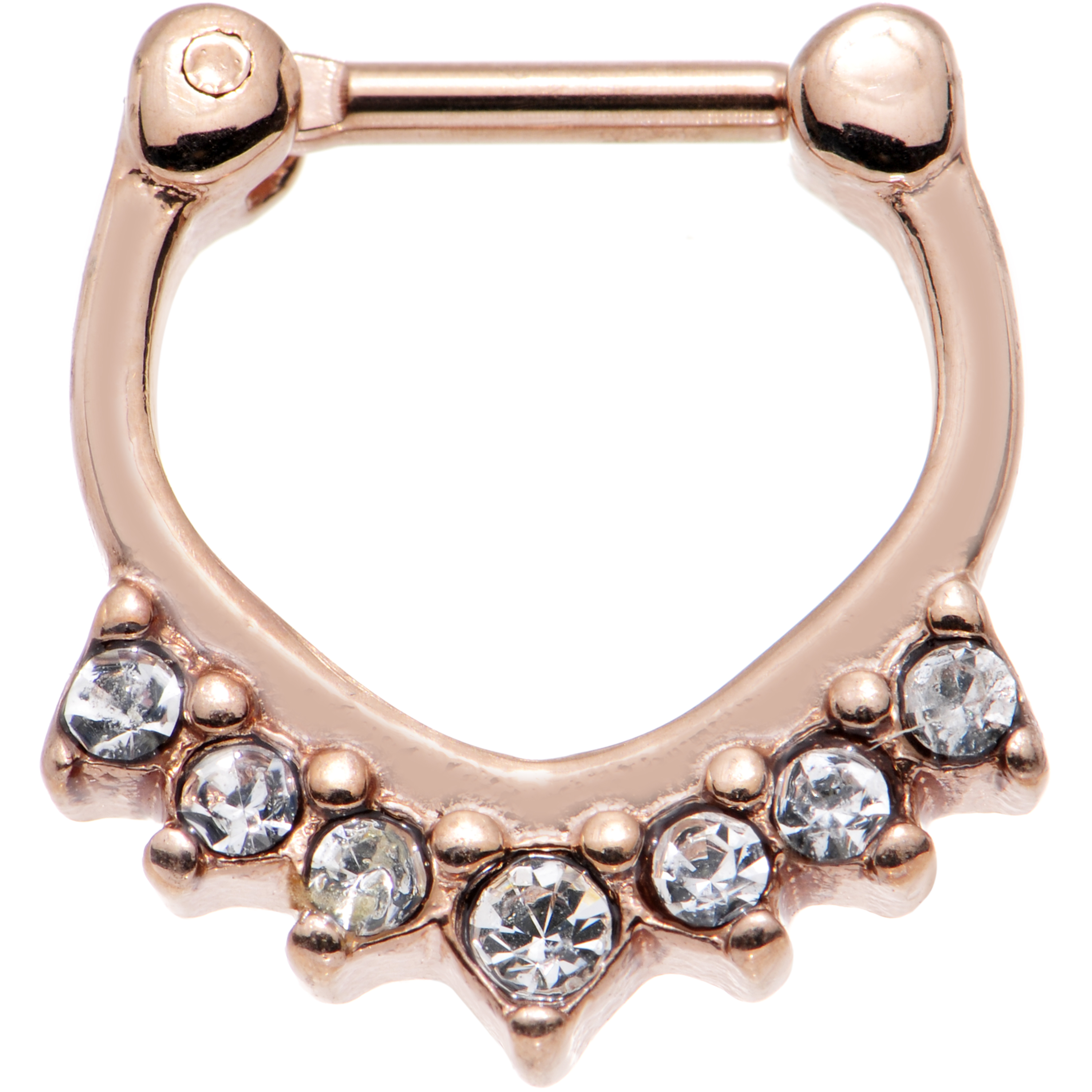"""Body Candy Rose Gold IP Steel Clear Accent Paparazzi Bling Septum Clicker 16 Gauge 1/4"""""""