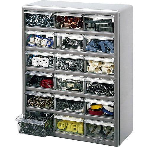 Stack-On 18-Bin Plastic Drawer Cabinet, Silver Gray