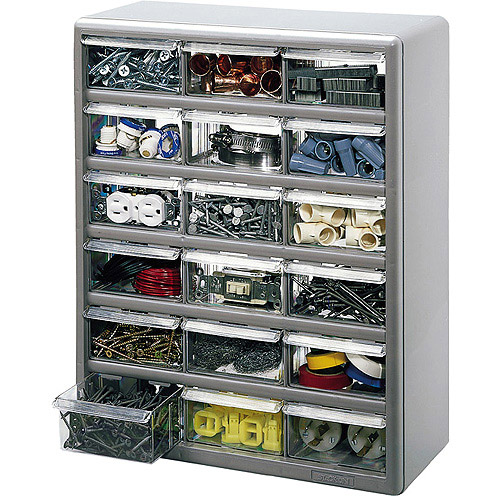 Stack-On 18-Bin Plastic Drawer Cabinet, Silver Gray