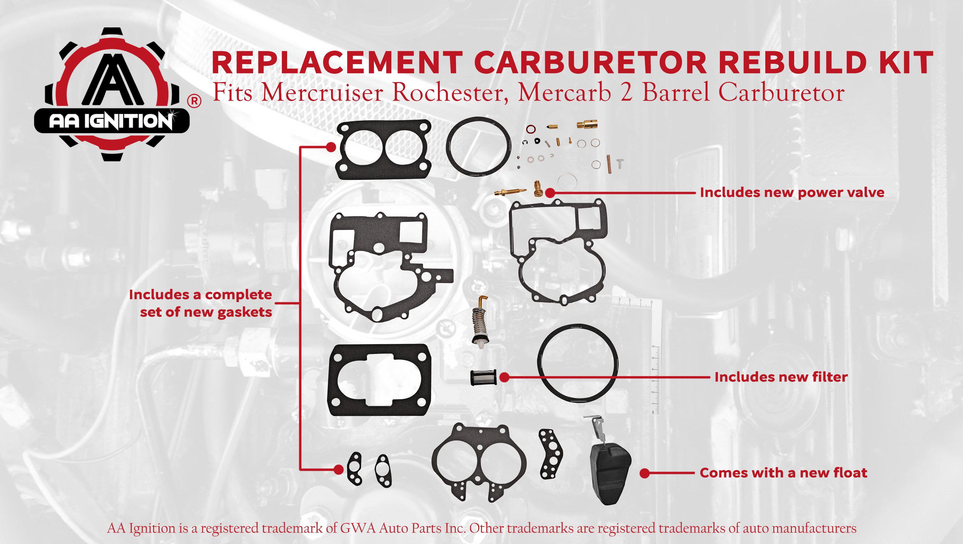 Alpha 76086 5.7L Mercury Replacement Mercruiser Rochester 2 Barrel Carb Rebuild Kit with Float 9-37612 GM Replaces 3302-804844 4.3L Bravo Engines Fits 2.5L 3.0L 18-7098 50844 5.0L