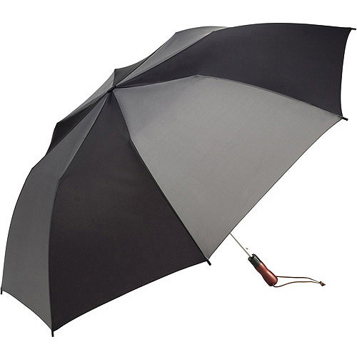 """ShedRain 58"""" Compact Auto Golf Umbrella with Wooden Handle"""