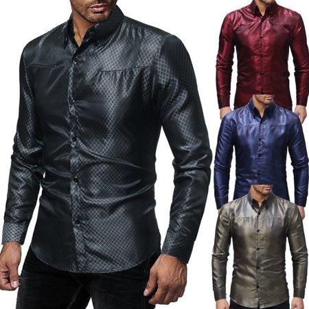 New Mens Long Sleeve Shirt Button Business Work Smart Formal Plain Dress