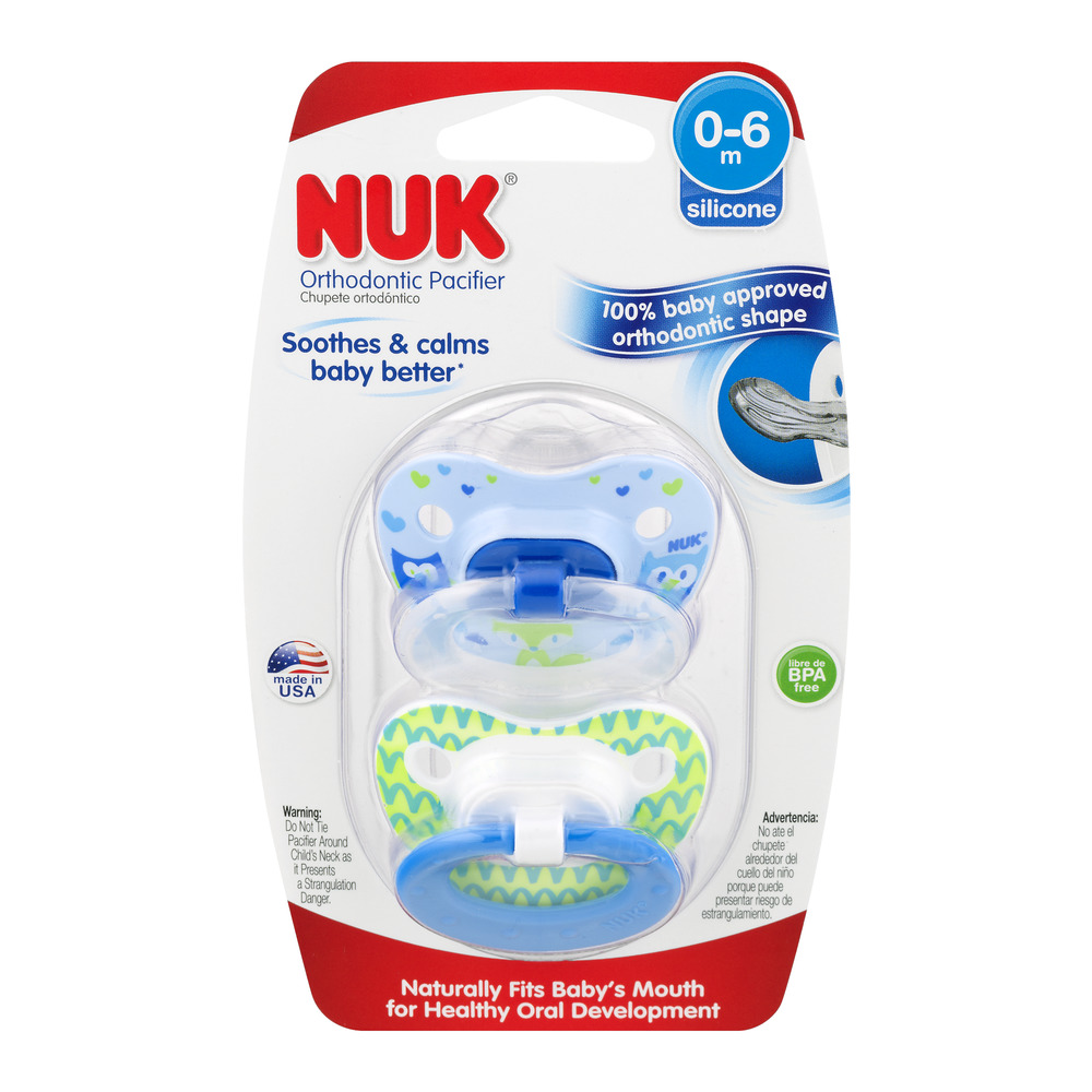 NUK Orthodontic Pacifier, 0-6 Months - 2 Counts