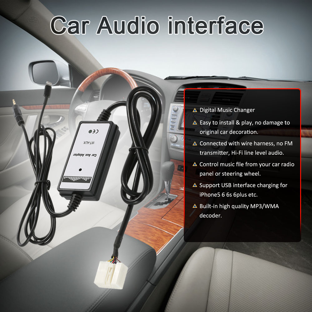 For Honda Acura 6pin Car 35mm Aux In Audio Adapter Usb Interface 6 Pin Wiring Harness Charging Iphone5 6s 6plus