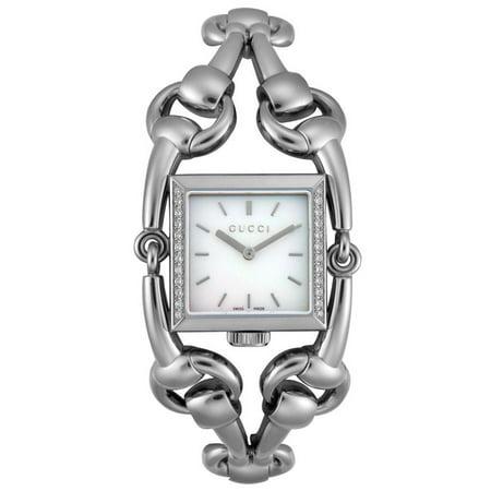 ab6dea97b2d Gucci - Signoria Quartz Horsebit Bracelet Mother of Pearl Diamond Dial  Women s Watch YA116307 - Walmart.com