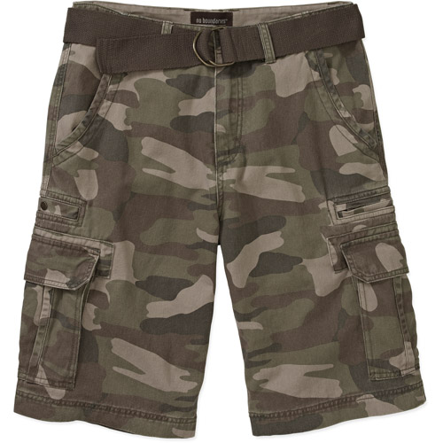 No Boundaries Big Men's Belted Twill Camo Cargo Short