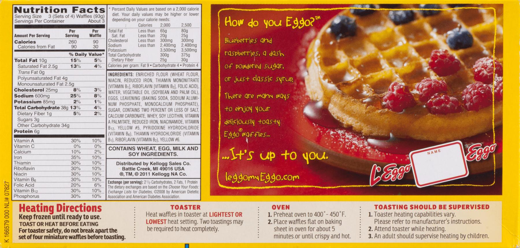 kellogg's eggo waffles minis homestyle, 10.9 oz - walmart